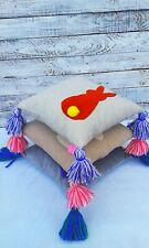 Handmade Cushion bunny and tassel, pillow with pompom,boho decor