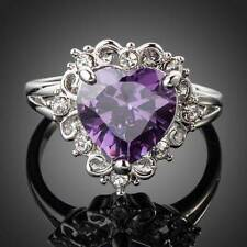PLATINUM PURPLE CRYSTAL WITH CLEAR CRYSTAL ACCENTS RING SIZE 7.75 #R81