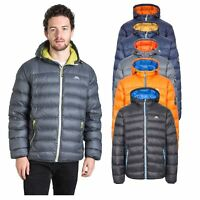 Trespass Whitman Mens Down Jacket Lightweight Warm Puffer in Grey Navy Orange