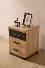 Pacific 3 Drawer Bedside Table in Somano Oak & Anthracite Grey