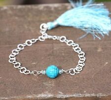 Natural Turquoise and Apatite Charm Link Bracelet with Tassel Sterling Silver