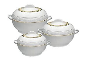 3pc Ambiente Casserole Set Insulated Food Warmer Round Thermal Hotpot  white
