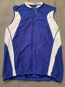 Men's Sugoi Cycling Vest Blue Vented Nylon Pockets Size XL