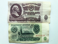 1961 USSR CCCP 3 and 25 Rubles Soviet Era Russian Banknote Currency Money Notes