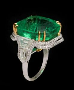 Green Asscher 925 Sterling Silver Round Double Halo Gold Plated Ring for Women