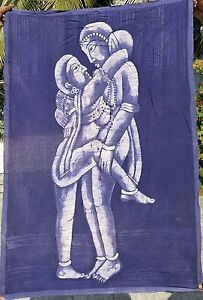 Kamasutra Tenture indienne vrai Batik Fait main Inde Coton Art Boho Hippie Q1