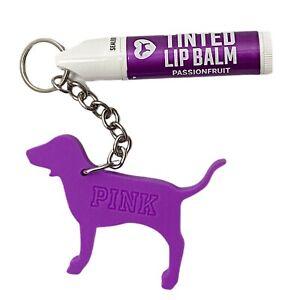 Victorias Secret PINK Tinted Lip Balm Keychain Purple Dog Passion Fruit Gift New