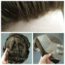 Durable Toupee Hair Replacement System for Men Fine Mono Hairpieces Skin Wigs #7