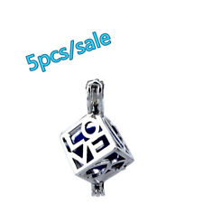 K208-5pcs Bulk Sale ! Silver Alloy 26mm Square Love Beads Pearl Cage (8mm)