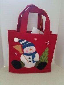 CUTE SNOWMAN CHRISTMAS WINTER FELT GIFT/TOTE BAG 8x8x3 AVON NEW