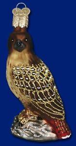 RED-TAILED HAWK OLD WORLD CHRISTMAS GLASS BIRD AVIARY WILDLIFE ORNAMENT 16064