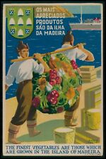 Art Deco advertising Madeira Island FRUITS of Portugal original 1930s postcard
