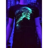 """Herren T-Shirt """"Alien Art"""" mit Druck UV aktiv Schwarzlicht Neon PSY"""
