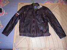 MENS 2XLARGE BROWN AFFLICTION LEATHERETTE BOMBER STYLE JACKET - NWT