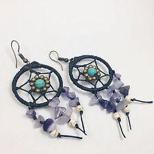 Handmade Dreamcatcher earring boho Purple Amethyst brass beads black macrame WOW