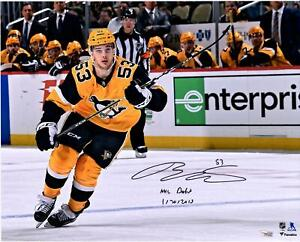 Teddy Blueger Penguins Signed 16x20 Gold Jersey Photo & Debut 1/30/2019 Insc