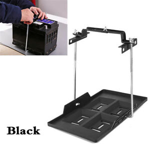 Universal Black Battery Tray Car Storage Battery Holder + Hold Down Clamp Safe