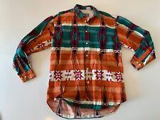 VTG TOM TAILOR Southwestern Aztec All Over Print L/S Button Shirt Size Large