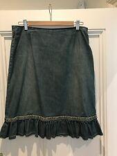 MOSCHINO Vintage Denim Jupe Taille 16 (mais beaucoup plus comme un 14)