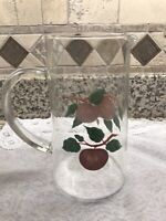 """Vintage Franciscan Apple Theme Clear Glass 8"""" Pitcher 🍎 RARE🍎"""