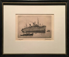 Charles J.A. Wilson - Signed Nautical Etching - Transport - Framed