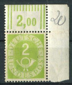 Posthorn 2 Pfennig Mi. Nr. 123 Eckstück oben rechts postfrisch