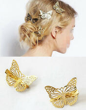 4PCS Gold 3D Butterflies Hair Clips Hairpins Hair Ornament Duckbill Clips