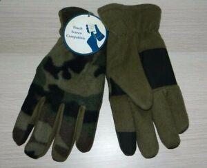 Men's Green Camo Fleece Glove Touch Screen Compatible New