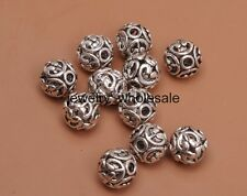10pcs Tibetan Silver Charm Hollow Bead Spacer Beads 12mm Jewelry Findings 3068