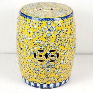"Asian Garden Stool Ceramic Yellow Blue Floral Design 17"""