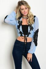 MISSES FLIRTY BLUE WITH BLACK LACE BOLERO TIE FRONT CARDIGAN SIZE SMALL NWT