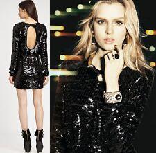 $451 Rachel Zoe Black Sequined Selita Dress opened back long sleeves US4  Small