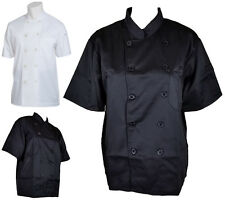 BLACK WHITE CHEF JACKET HALF SHORT SLEEVE WITH POCKET UNISEX CHEFWEAR COAT