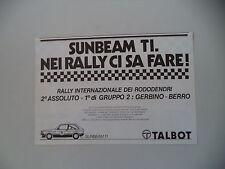 advertising Pubblicità 1980 TALBOT SUNBEAM TI