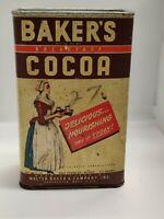 "Vintage ""Walter Baker's & Co. Breakfast Cocoa"" Tin (rare) paper label"