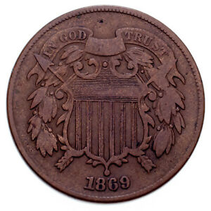 1869 Two Cent Piece in Fine Condition, All Brown Color