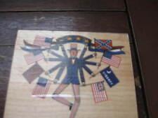Inkadinkado Rubber Stamp Wood Mount Charles Wysocki's Uncle Sam W/Flags  #5250