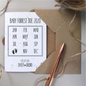 PERSONALISED Pregnancy Announcement Card SEEDED plantable eco-friendly recycled