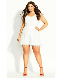 City Chic Lace Vibe Playsuit - Size S - BNWT