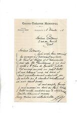 1908. Bordeaux. Grand Théâtre Municipal. Fernand Bory. Lettre autographe signée.