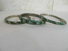 Set of 3 Bangle Bracelets Made in India Green in Color with Jewel Adornments