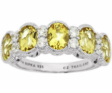 Judith Ripka Sterling 2.90ct Golden Beryl & Diamonique Band Ring size 7