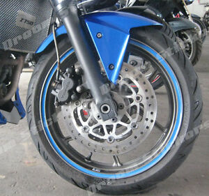 MOTORCYCLES CAR BLUE WHEEL RIM  DECAL STICKERS TAPES 6MM OR 10MM MADE IN UK