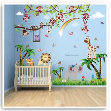 Animal Owl Jungle Wall Stickers Monkey Zoo Lion Tree Nursery Baby Room Decal Art