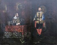 Ölgemälde 19. Jahrhundert Fürst Knappe Personen Interieur JT Monogramm England?