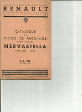 RENAULT NERVASTELLA - ACS 1 - PR 293 - 1935 / CATALOGUE PIECES RECHANGE