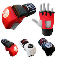 Leather Grappling Gloves Boxing Gloves Cage Fight MMA Muay Thai Size M & L