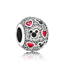 Fine fairy tale Mouse CZ Red Love Spacer Charm Bead For 925 Sterling Bracelet