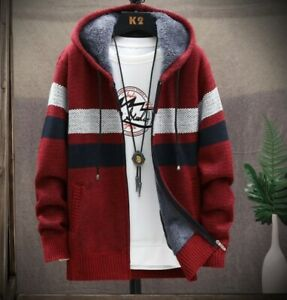 Winter Red Cardigan Sweater Men Coats Thick Hooded Men Sweater Striped Mens