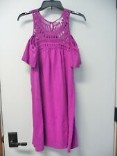 NWT Women's Sonoma Pink Cold Shoulder Shift Dress Macrame Neck Size S Retail $54